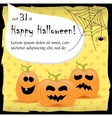 Halloween party invitation card with pumpkins vector image