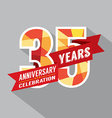 35th Years Anniversary Celebration Design vector image