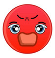 angry red emoticon icon cartoon style vector image vector image