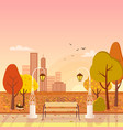 autumn park and cityscape vector image vector image