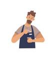 barista preparing coffee espresso cartoon man vector image