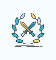 battle emblem game label swords flat icon green vector image