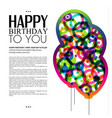 birthday card with color balloons and text vector image vector image