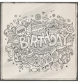 Birthday hand lettering and doodles elements vector image vector image