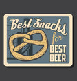 brewery pub and bar beer and pretzel bread snack vector image vector image