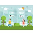 chatting online via social network vector image