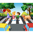 Children and dog crossing the road vector image vector image