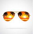 cool aviator sunglasses sunset beach gold frames vector image vector image