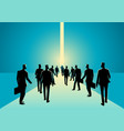 crowd of people walking into narrow path vector image vector image
