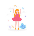 cute girl jumping outdoors in the park isolated on vector image