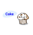 Cute muffin cake cartoon comic character with