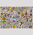 doodle cartoon set halloween theme objects vector image