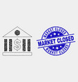 dot dollar bank icon and grunge market vector image vector image