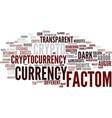 factom word cloud concept vector image vector image