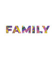 family concept retro colorful word art