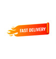 fast delivery logo with burning red banner vector image