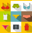 female underwear icon set flat style vector image vector image