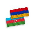 flags azerbaijan and armenia on a white
