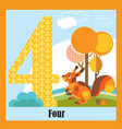 flat animal numbers 4 vector image