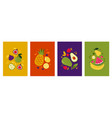 fruit posters collection bright summer vector image vector image