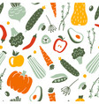 fruits and vegetables flat hand drawn seamless vector image vector image