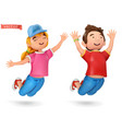 funny kids girl and boy 3d cartoon icon vector image vector image