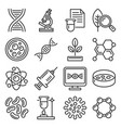 genetic research and science icons set on white vector image vector image