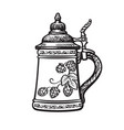 german stein beer mug black and white hand drawn vector image