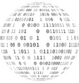 globe with binary code vector image vector image