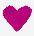 hand painted with brush isolated big pink heart vector image