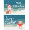 happy holidays and merry christmas postcards pigs vector image vector image