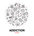 harmful addictions round concept vector image vector image
