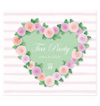 heart decorated with roses template birthday vector image vector image