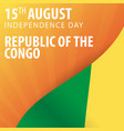 independence day of republic of the congo flag vector image vector image