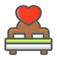 lovers bed with heart filled outline icon vector image vector image