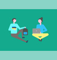 male and female students sitting isolated on green vector image vector image