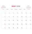 may 2018 calendar planner design template week vector image
