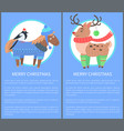 merry christmas postcard with horse bullfinch deer vector image vector image
