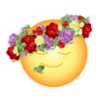 orange smiling sun with a wreath of bright vector image vector image
