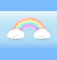 pastel colors rainbow and clouds vector image vector image