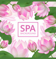 pink lotus flowers background invitation healing vector image vector image
