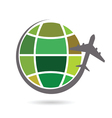 planet earth with airplane color vector image vector image