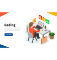 programmer at work concept coding or online vector image vector image