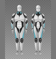 realistic robots transparent composition vector image