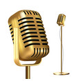 retro golden microphone with stand record vector image
