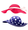 set of fashion womens summer hat isolated on white vector image vector image