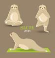 set sloths doing yoga on a dark background vector image