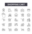 shopping cart line icons signs set vector image vector image
