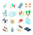 shopping mall isometric icons set vector image
