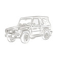 sketch of a car on a white background vector image vector image